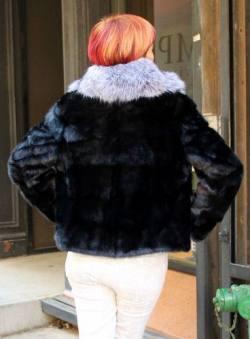 Ranch Mink Jacket Silver Fox Fur Shawl Collar