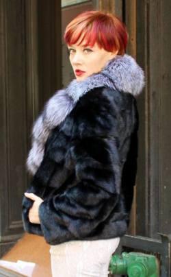 Ranch Mink Jacket Silver Fox Shawl Collar