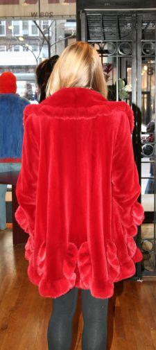 Red Sheared Mink Fur Stroller Scalloped Bottom