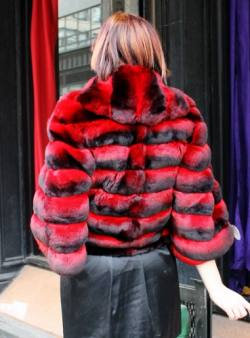 Marc Kaufman Furs presents this horizontal red chinchilla fur bolero jacket from Marc Kaufman Furs New York City,Fur coats in Argentina, fur coats in Chile, fur coats in Venezuela, fur coats in Australia, fur coats in Belgium,fur coats in Netherlands, fur coats in Norway,fur coats in Sweden,fur coats in Dubais,fur coats in Egypt,fur coats in Egypt,fur coats in Kuwait, fur coats in South Africa,fur coats in Tunisia,fur coats in the Falklands