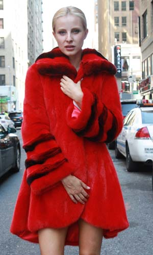 Red Mink Fur Stroller Chinchilla Wing Collar Bell Cuffs 22125 Image