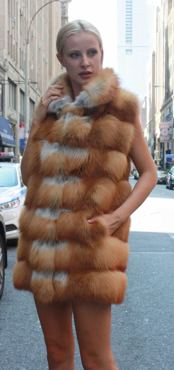 Marc Kaufman Furs Presents a red fox fur horizontal vest from Marc Kaufman Furs New York,Argentina,United Kingdom,Austria,Denmark,Norway,Australia,Finland,Saudi Arabia,Oman,Kuwait,Jordan,Egypt