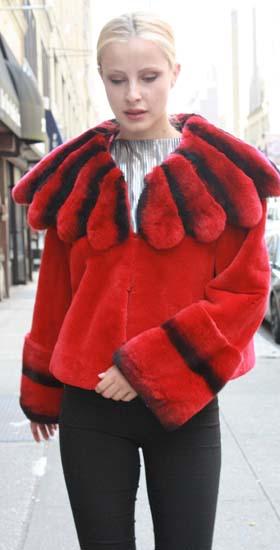 Red Rex Rabbit Fur Jacket Rex Rabbit Chinchilla Collar 43233 Image