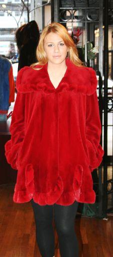 Red Sheared MInk Swing Fur Stroller 5566