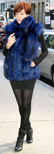 Dyed Royal Blue Silver Fox Fur Vest