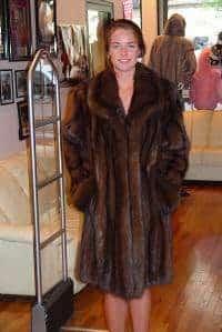Russian Sable fur Stroller Jacket Wing Collar Turn back Cuffs