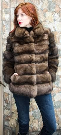 Canadian Sable Horizontal Fur Jacket