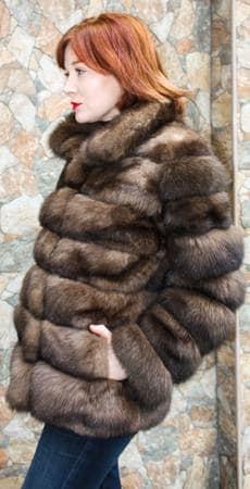 Casual Russian sable Fur jacket Horizontal
