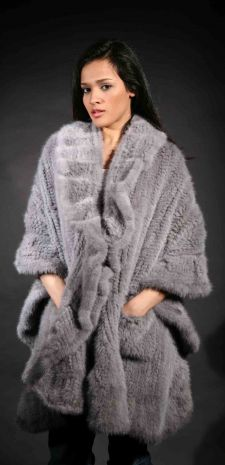 Marc Kaufman Furs Presents a sapphire knit mink fur cape with ruffles from Marc Kaufman Furs New York,Argentina,United Kingdom,Austria,Denmark,Norway,Australia,Finland,Saudi Arabia,Oman,Kuwait,Jordan,Egypt