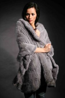 Marc Kaufman Furs Presents a sapphire knit mink fur cape with ruffles from Marc Kaufman Furs New York,Argentina,United Kingdom,Austria,Denmark,Norway,Australia,Finland,Saudi Arabia,Oman,Kuwait,Jordan,Egypt