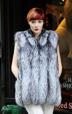 Sporty Silver Fox Fur vest