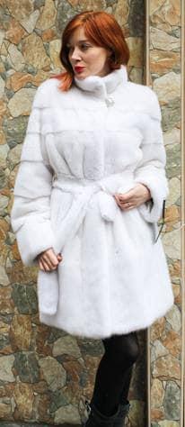 Amazing Belted White Mink Fur Stroller Designer Furs Marc Kaufman