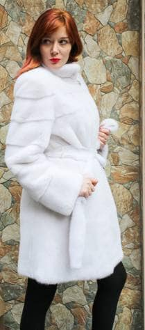 Amazing Belted White Mink Fur Stroller Designer Furs Marc Kaufman Aspen Washington DC Vail ski aspen Chicago Detroit