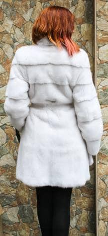 Amazing Belted White Mink Fur Stroller Designer Furs
