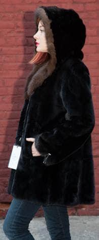 Classic Black Ranch Mink Fur Stroller Russian Sable Fur Lined Hood