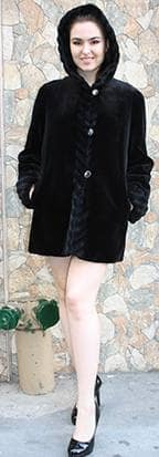 Black Sheared Mink Fur Jacket Hood 8222 Image