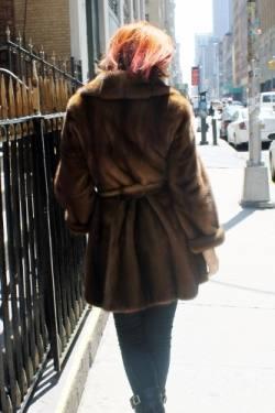 Mahogany Swing Mink Fur Stroller Belt fur store nyc