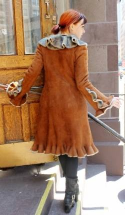 Amazing Cognac Ruffles Shearling Fur Coat Made NYC