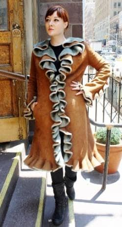Cognac Ruffles Shearling Fur coat