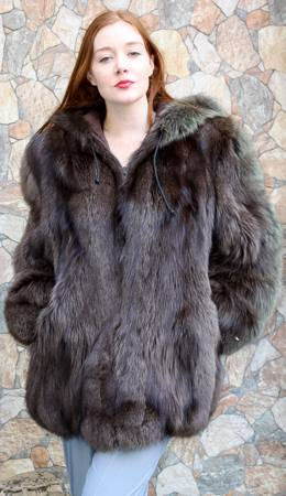 Green Hooded Fox Fur Bomber Jacket 1222 Image