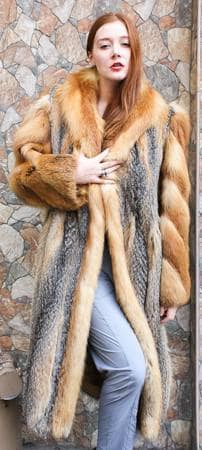 Grey Fox Fur Coat Red Fox Trim 8632 Image