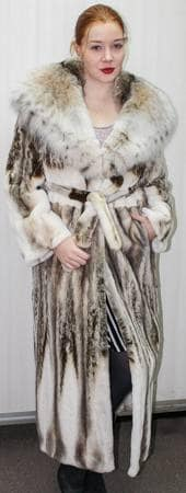 Sheared Mink Fur Coat with Canadian Lynx Collar Hood 8862