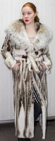 Amazing Magnificent Sheared Mink Coat Canadian Lynx Hood Full Length Fur Store Marc Kaufman Furs NYC Ski Resort Best Furs