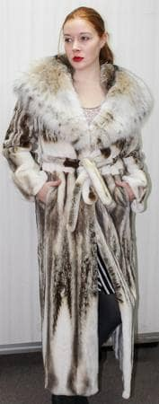 Amazing Magnificent Sheared Mink Coat Canadian Lynx Hood Full Length Fur Store Marc Kaufman Furs NYC Ski Resort Best Furs