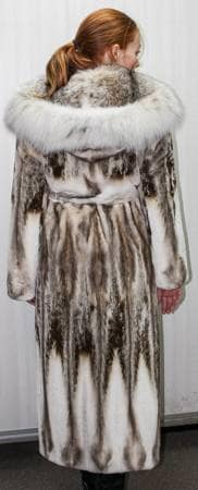 Beautiful Magnificent Sheared Mink Coat Canadian Lynx Hood Full Length Fur Store Marc Kaufman Furs NYC Ski Resort