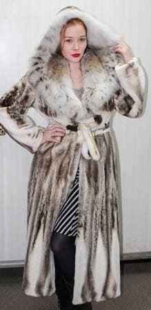 Sheared Mink Fur Coat with Canadian Lynx Collar Hood 8862 Image