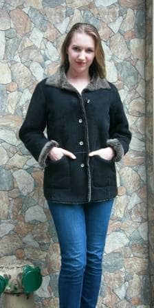 Black Gray Shearling Fur Jacket 7778 Image