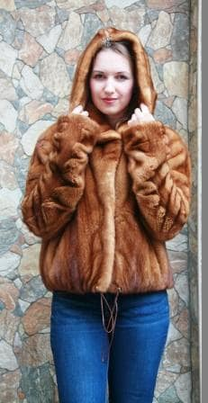 Whiskey Mink Fur Bomber Jacket Hood 77788 Image