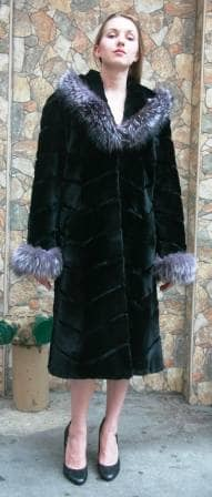 Black Sheared MInk Coat Fox Fur Trim 9900 Image