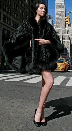 Black Persian Cape Black Fox Fur Trim 7789 Image