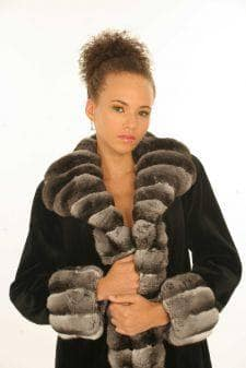 Marc Kaufman Furs presents a black sheared mink coat with chinchilla tuxedo from Marc Kaufman Furs New York City,Fur coats in Argentina, fur coats in Chile, fur coats in Venezuela, fur coats in Australia, fur coats in Belgium,fur coats in Netherlands, fur coats in Norway,fur coats in Sweden,fur coats in Dubais,fur coats in Egypt,fur coats in Egypt,fur coats in Kuwait, fur coats in South Africa,fur coats in Tunisia,fur coats in the Falklands