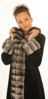 Marc Kaufman Furs presents a black sheared mink coat with chinchilla tuxedo from Marc Kaufman Furs New York City,Fur coats in Argentina, fur coats in Chile, fur coats in Venezuela, fur coats in Australia, fur coats in Belgium,fur coats in Netherlands, fur coats in Norway,fur coats in Sweden,fur coats in Dubais,fur coats in Egypt,fur coats in Egypt,fur coats in Kuwait, fur coats in South Africa,fur coats in Tunisia,fur coats in the Falklands