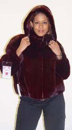 Burgundy Mink Fur Jacket Mink Hood