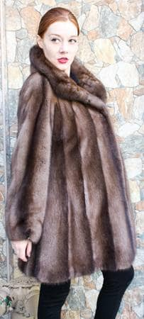 Demi Mink Swing Fur stroller Wing Collar Straight Sleeves