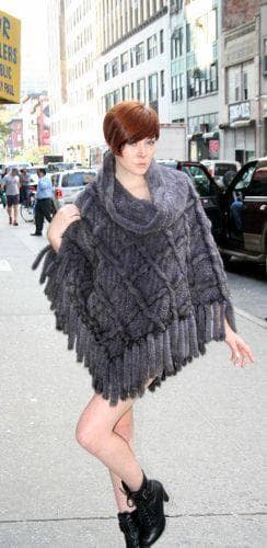 Blue Iris Knit MInk Fur Poncho Fringes Marc Kaufman Furs NYC