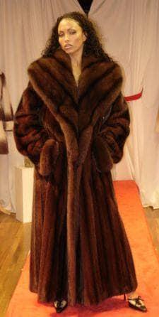 Mahogany Red Full Length Mink Coat Russian Sable Fur Collar