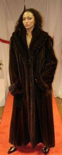 Mahogany Mink Coat Full Length Ruffled Collar With Ruffled Mink ...