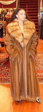 Whiskey Mink Fur Coat Russian Golden Sable Collar 8899