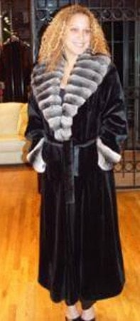 Marc Kaufman Furs presents a blackglama mink coat with chinchilla cross cut shawl collar from Marc Kaufman Furs New York City,Fur coats in Argentina, fur coats in Chile, fur coats in Venezuela, fur coats in Australia, fur coats in Belgium,fur coats in Netherlands, fur coats in Norway,fur coats in Sweden,fur coats in Dubais,fur coats in Egypt,fur coats in Egypt,fur coats in Kuwait, fur coats in South Africa,fur coats in Tunisia,fur coats in the Falklands