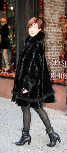 Black Sheared Mink Swing Stroller Laser Cut Black Fox Fur Trim