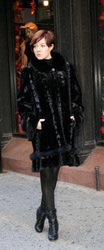 Black Mink Swing Stroller Laser Cut Black Fox Fur Trim