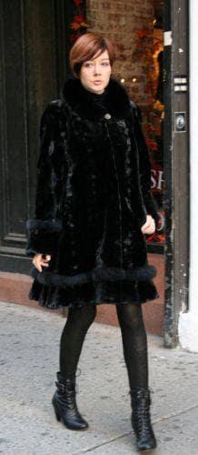 Black Sheared Mink Stroller Fox Trim
