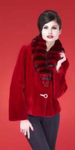 Marc Kaufman Furs presents a red sheared mink fur jacket with chinchilla shawl collar from Marc Kaufman Furs USA,Fur coats in Argentina, fur coats in Chile, fur coats in Venezuela, fur coats in Australia, fur coats in Belgium,fur coats in Netherlands, fur coats in Norway,fur coats in Sweden,fur coats in Dubais,fur coats in Egypt,fur coats in Egypt,fur coats in Kuwait, fur coats in South Africa,fur coats in Tunisia,fur coats in the Falklands
