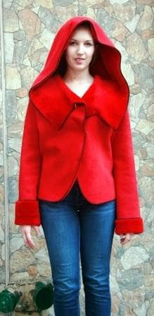 Red Shearling Fur Jacket 9933 Image