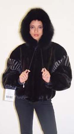 Ranch Mink Jacket Blue Iris Mink Fur Inserts