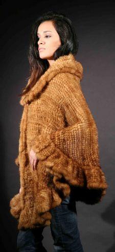 Marc Kaufman Furs Presents a whiskey knit mink fur cape with ruffles from Marc Kaufman Furs New York,Argentina,United Kingdom,Austria,Denmark,Norway,Australia,Finland,Saudi Arabia,Oman,Kuwait,Jordan,Egypt